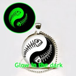 discount glass tile fish glow in the dark necklace ying yang necklace glass tile necklace fish