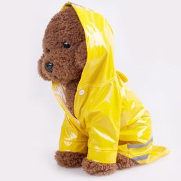 poncho color UK - 3 Color Hooded Pet Dog PU Reflection Raincoats Waterproof Clothe For Small Dogs Chihuahua Yorkie Dog Rain coat Poncho Puppy Rain Jacket S-XL