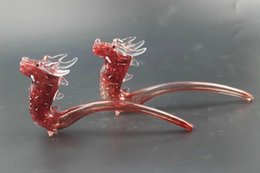 Barato Modelo Chinês Mais Quente-Delicate Glass Water Pipes Red Chinese Loong Modelagem Smoking Pipe tem um par de jóias como olhos pretos quentes Venda livre shpping