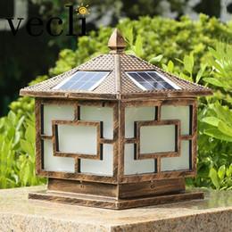 Solar Lamps Outdoor Column Head Light Home Door Fence Lamp Villa Garden  Lights Waterproof