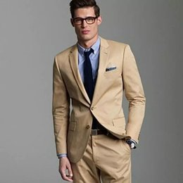$enCountryForm.capitalKeyWord Canada - Handsome Khaki Wedding Tuxedos Slim Fit Suits For Men Groomsmen Suit Two Pieces Cheap Prom Formal Suits(Jacket+Pants)