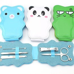 Ensemble De Clous À Ongles Pas Cher-Wholesale- Beauty Girl Hot Professional 5pcs Cartoon Nail Clipper en acier inoxydable Lovely Manicure Tools Nail Clipper Set Dec.8