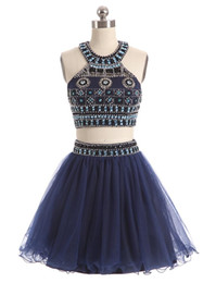 größe 16 marinekleid großhandel-2017 neue Zwei Stücke Homecoming Kleider Jewel Neck Marineblau Tüll Kristall Perlen Kurze Mini Party Graduation Formal Plus Größe Cocktailkleider