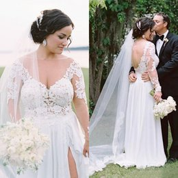 beach wedding dresses sheer Australia - Modest Plus Size Beach Wedding Dresses 2017 Sheer V Neck Illusion Back With Long Sleeves Side Split Bridal Gowns Custom Made China EN5245