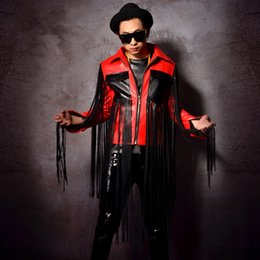 Wholesale red leather jackets for sale - Group buy PU leather male tide fashion jacket outerwear red black tassels leather coat blazer singer dancer star DJ DS stage costumes performance wear