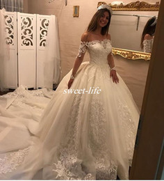 Vintage Wedding Dress Tulle Shoulder Wrap NZ - Princess 2017 Fall Winter Lace Wedding Dresses with Illusion Long Sleeve Off Shoulder Chapel Train Satin Vintage Bridal Wedding Gowns Tulle