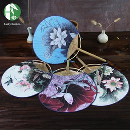 PaPer round flower decoration online shopping - Chinese Style Hand Fan Bamboo Handmade With Round Paper Paint Flowers Ladies Summer Party Gift Vintage Art Craft Home Decoration