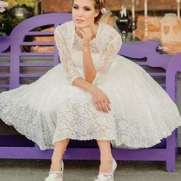 $enCountryForm.capitalKeyWord Canada - 2020 Spring Full Lace Short Wedding Dress with Jacket Half Sleeve Jewel Neck A Line Tea Length Bridal Gowns Custom Size