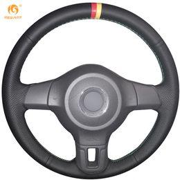 Vw Golf Wheel Canada - Mewant Black Genuine Leather Car Steering Wheel Cover for Volkswagen Golf 6 Mk6 VW Polo Bora Sagitar Santana Mk6 Jetta