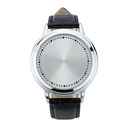 Chinese  17 Creative personality minimalist leather normal waterproof LED watch men and women couple watch smart electronics casual watches manufacturers