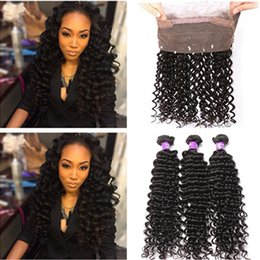 malaysian wavy human hair NZ - Deep Wave Wavy 360 Full Lace Frontal Closure with Weaves 4Pcs Lot Virgin Malaysian Human Hair 3Bundles with 360 Lace Frontal 22.5x4x2