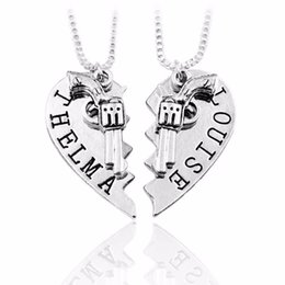 Chinese  Thelma Louise Necklace Silver Gold Broken Heart Gun Pendant Necklaces for Women Friends Best Bitch Fashion jewelry Drop Shipping manufacturers