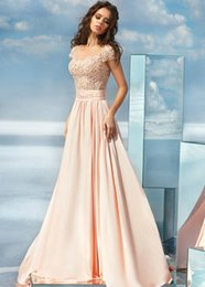 Barato Barato Moda Mangas Compridas-Fashionable 2017 Pink A-Line Beaded Lace Appliques Prom Dresses Sheer Scalloped Neck Zipper Back Longo vestido de noite com mangas baratos