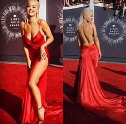 $enCountryForm.capitalKeyWord Canada - High side split sexy celebrity red carpet prom dresses long sweep spaghetti ruched criss cross backless special occasion party gowns