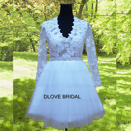 See Through Wedding Dress Crystal Beading Canada - Classic Short V Neck Lace Wedding Dress with Full Long Sleeves Factory Real Photo Custom Made Vestios De Marriage See Through Little Gown