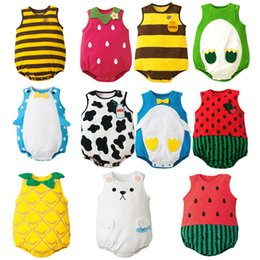 Wholesale Baby cartoon watermelon bee frog dairy cow triangular jeans dressing uniforms children s children s clothing thin section