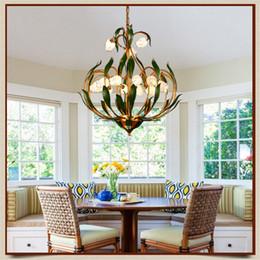 Discount Hanging Flower Lights Bedroom   FUMAT Glass Flowers Green Leaves  Chandeliers American Garden Artistic Suspension