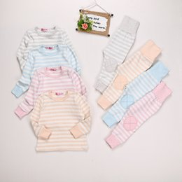 Wholesale sleep suits online – Warm Cotton Autumn Winter Pajamas Children s Underwear Suit Long Sleeve Shirt and Pants Kids Striped Sleeping Wear Clothes