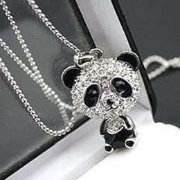 Atacado-strass mulheres clássicas em movimento cabeça Panda pingente camisola cadeia colar venda por atacado