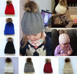 Skull Cap Ball Canada - Kids Winter Knitted Hat Pompom Ball Warmer Wool Fur Baby Boys Girls Caps Crochet Knitted Hats Skull Caps Pompom Beanies