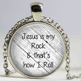 $enCountryForm.capitalKeyWord Canada - Jesus is my rock and that is how I roll necklace Faith Pendant Christian Inspirational jewelry glass Cabochon Necklace