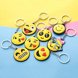 R key chains online shopping - Cartoon Emoji Keychain Yellow Small Face Keys Chain PVC Flexible Glue Key Buckle For Many Styles mk C R