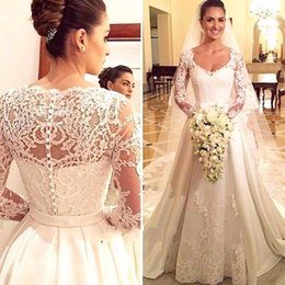 $enCountryForm.capitalKeyWord Australia - Vestidos de noiva New Design Long Wedding Dress 2017 V-neck Long Sleeves Chapel Train Lace Satin A-Line Wedding Gowns With Veil