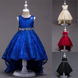 asymmetrical bridesmaid prom dresses Canada - Lace Flower Girls Dress Kids Children Teens Clothes Party Gown Wedding Bridesmaid Asymmetrical Prom Princess Dress