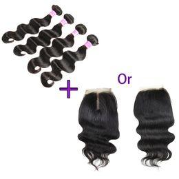 China Brazilian Human Hair 4 Bundles with Closure 100% Unprocessed 8A Body Wave Virgin Hair Bundle Deals Wholesale Remy Human Hair Extensions supplier wholesale mongolian closure suppliers