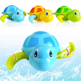 Discount turtle bath toys - Newborn baby Cartoon Animal Tortoise Classic bath toy Infant Swim Turtle Chain Clockwork Toys Educational kid toys