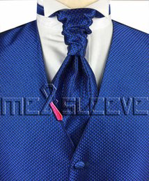 c37ca0195637 hot sale free shipping small check royal blue simple wedding dress(vest+ascot  tie+cufflinks+handkerchief)