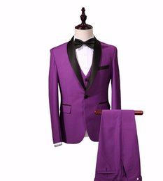 Barato Casamento Vestido De Vestido Roxo-Purple Color (Casacos + Vest + Pants) Men Suits Slim Custom Fit Tuxedo Fashion Bridegroom Business Vestido Wedding Red Suits Blazer