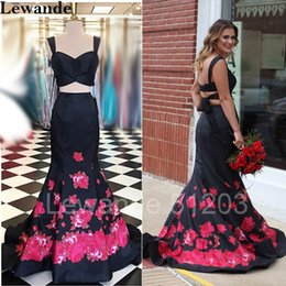 Barato Padrões De Vestido De Noite-Vibrant Floral Print Dois Piece Mermaid Senior Prom Dress 2017 Long Sweetheart Satin Evening Gown Sexy Homecoming Pattern Skirt Lewande 51203