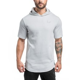 Wholesale short sleeved hoodies for sale - Group buy Good A Men s sweater explosion sports leisure training hooded short sleeved MH021 Men s Hoodies Sweatshirts