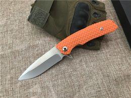 wholesale lock blade knife 2019 - 2Pcs Ball Bearing Flipper Knife D2 Drop Point Satin Finish Blade Orange G10 Handle EDC Pocket Knives Liner Lock discount