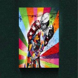 Impressão Da Lona Decoração moderna Vitória Beijo V-J Dia na Times Square Pintura A Óleo Europeia na Lona Parede Arte Imagem Decoração Da Lona Pintura Cartaz em Promoção