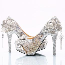 bf969ddea2cea Kitten heel evening shoes silver online shopping - Silver Tassel Flower Cinderella  Shoes Hand made Prom