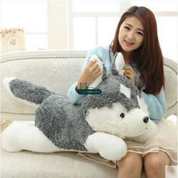 hot dog plush toy Canada - Dorimytrader New Hot 100cm Giant Cute Simulated Animal Husky Plush Toy Big Stuffed Cartoon Dog Doll Pillow Baby Gift DY61608