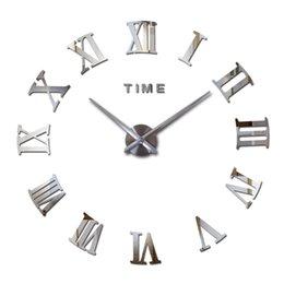 Großhandel Großhandels-2016 heiße Art und Weisequarz-Uhrausgangsdekor begrenzter Verkauf 3d großer Spiegel diy reale Wanduhr modernes Entwurfsraumgeschenk freies Verschiffen