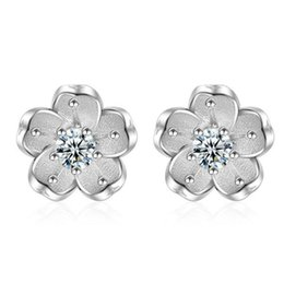 White Stone Ear Studs Canada - Fashion Sakura Flower White Crystal Stone Stud 925 Silver Plated Earrings Ear Jewelry for women Xmas Gift ED293