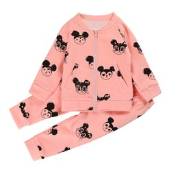 Poches À Glissière Pour Garçons Pas Cher-Enfants Filles Costume Vêtements Set Cartoon Mouse Zipper Coat + Long Pantalon 2 pcs / Set Pocket Boys Tenues Enfant Toddler Ensembles de Vêtements