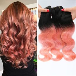 ombre short weaving hair Canada - Two Tone #1B Rose Gold Ombre Hair 3 Bundles Body Wave Peruvian Virgin Hair 3 Weave Bundles Short Hair For Black Woman