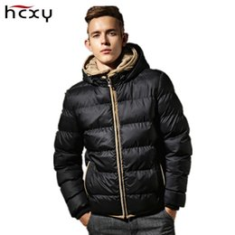 Vestes Imperméables Imperméables Aux Hommes Pas Cher-Vente en gros-HCXY Marque Vêtements 2016 Hiver Coton Mens Hooded Down Jacket Imperméable Mâle Manteau Épais Chaud Ultralight Slim Coupe-Vent