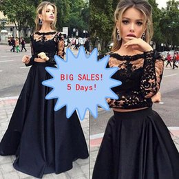 Barato Duas Peças Vestidos De Festa À Noite-Big Discount Fashion Two Pieces Prom Dresses Black 2 Piece Sheer Bateau Neck Illusion Lace Long Sleeves Evening Party Vestidos Comprimento do chão