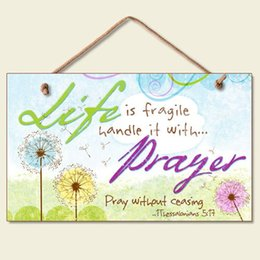 """Woods Wall Decor Canada - Inspirational Life is Fragile Sign Christian Prayer Floral Wall Decor wood Plaque 9.5""""*5.5"""""""