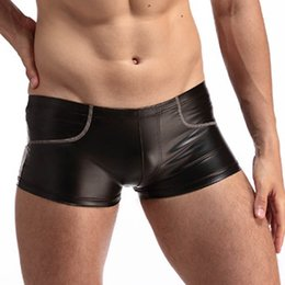 Sexy Undies Xl Baratos-Hombres Faux Leather Boxers Shorts Ropa interior Sexy Performance Slim Negro Gay Gay Underpants Bragas Bajo aumento sexy Undies