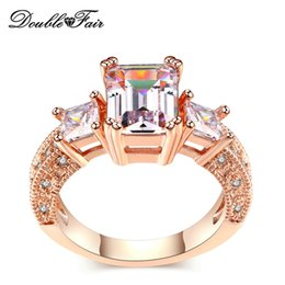 rhodium plated cz 2018 - Hot Sell Big Imitation Crystal 18K Rose White Gold Plated Rings Wholesale CZ Diamond Full Size Jewelry For Women DFR332