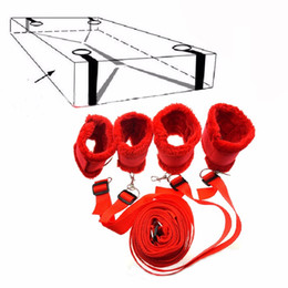 Barato Móveis De Sexo Para Escravidão-Sex Furniture Nylon + Plush Under Bed Sistema de retenção, Bondage Restraints Kit Algemas Cuecas de tornozelo Erotic Adult Sex Toys q0511
