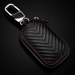 Design Genuine Leather NZ - 2017 NEW Fashion Genuine Cow Leather Styling Car Auto Home Using Key Chain Keyrings Ring Case Holder Cover Wallet Bag Design Good Gift Black