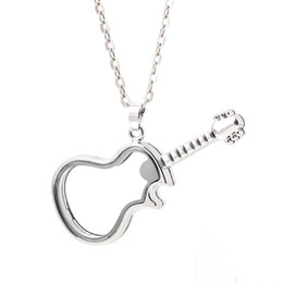 China Unique Guitar Shape Glass Floating Charm Lockets Living Photo Memery Charm Lockets Pendant 925 Silver Chain Necklace suppliers